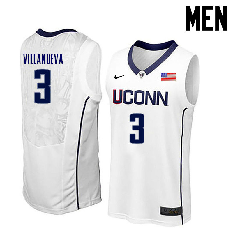 Men Uconn Huskies #3 Charlie Villanueva College Basketball Jerseys-White