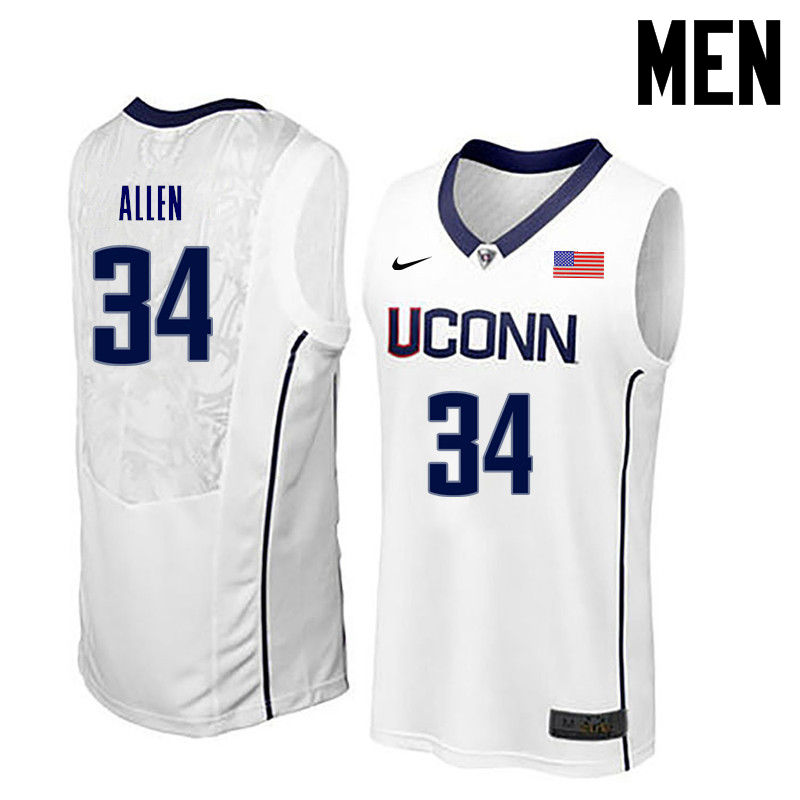 Men Uconn Huskies #34 Ray Allen College Basketball Jerseys-White