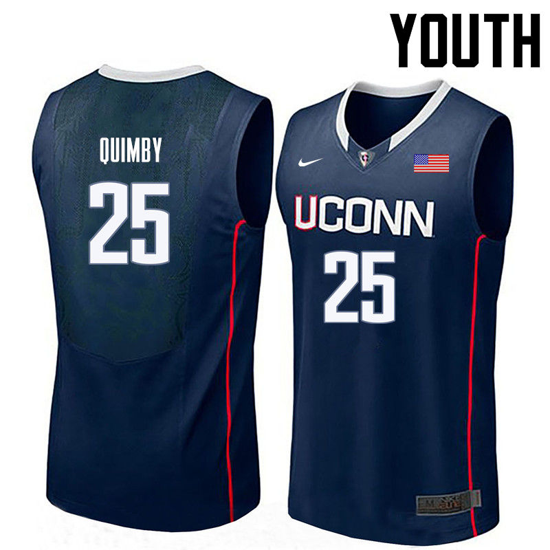 Youth Uconn Huskies #25 Art Quimby College Basketball Jerseys-Navy
